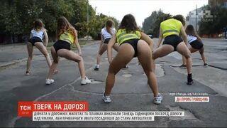 Protest przeciw dziurawym drogą w Nikopolu. Dziewczyny wykonały taniec twerking na środku drogi z dołami