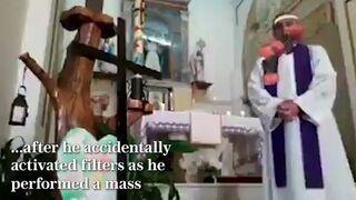 Ksiądz we Włoszech podczas transmisji mszy na Facebooku przypadkowo włączy filtry