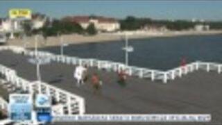 Wpadka na żywo w TVN24 - Człowiek pralka na molo w Sopocie