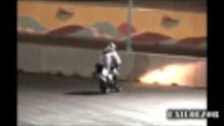 Moto Stunt Rider Smashes Into Wall