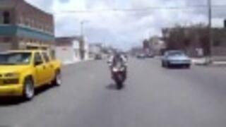 Debil na motorze chciał się popisać