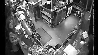 Man falling down a hole in a pub