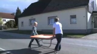The trick with a trampoline