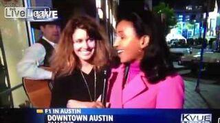 Overly attached drunk girl gets on the news - пьяная девушка в прямом эфире