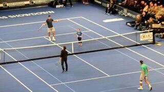 Rafael Nadal and Ben Stiller play vs Juan Martin del Potro and a little girl