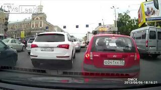 Russian Road Rage Guy Smacks Boy in the Face