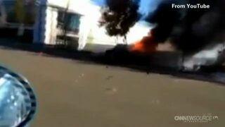 Płonący samochód w wypadku - Paul Walker
