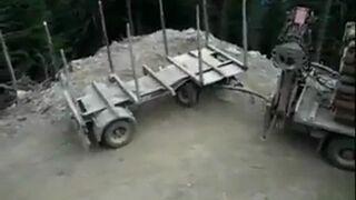 Ciężarówka z przyczepą i zawracanie nad przepaścią!