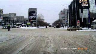 Czołg na skrzyżowaniu w Rosji