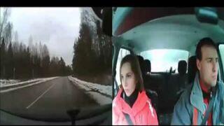 Zderzenie samochodu z jeleniem obserwowane kamerką.