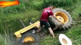 Traktor kosi trawę - fail