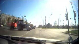 Traktor z beczką w rytm muzyki