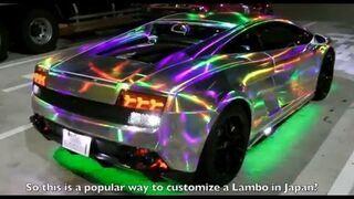 Krzykliwe Lamborghini z LED, nocą w Tokyo