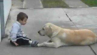 Mały Chłopiec w zespół Downa i Jego Pies