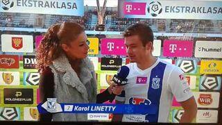 Wpadka prezenterki w przerwie meczu Korona - Lech