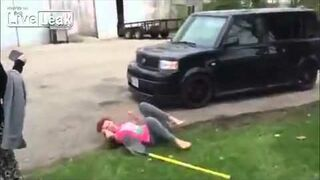 Girl fight gets hit with shovel