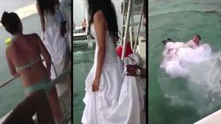 Skok do wody w sukni ślubnej. To nie jest dobry pomysł!